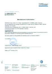 Сертификат эксклюзивного партнера DUEKER