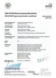 Сертификат DVGW на поворотно-дисковые затворы