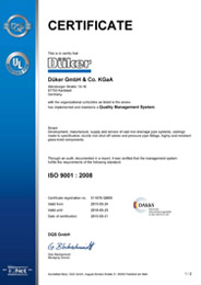 Сертификаты продукции  Düker (Dueker)